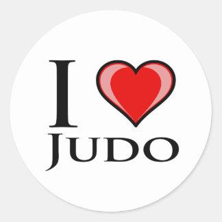 Eu amo o judo adesivo redondo