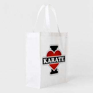 Eu amo o karaté sacolas reusáveis
