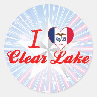 Eu amo o lago claro, Iowa Adesivo Redondo