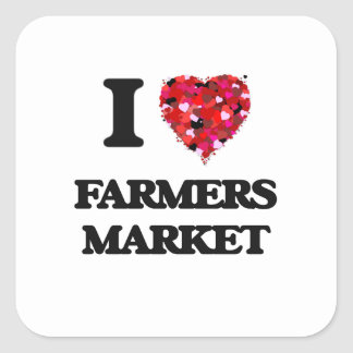 Eu amo o mercado dos fazendeiros adesivo quadrado