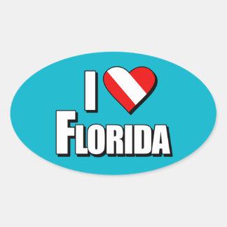 Eu amo o mergulho de Florida Adesivo Oval