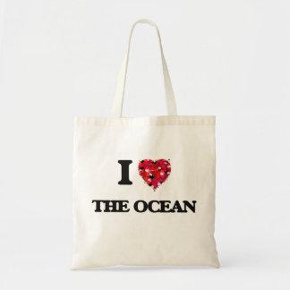 Eu amo o oceano sacola tote budget