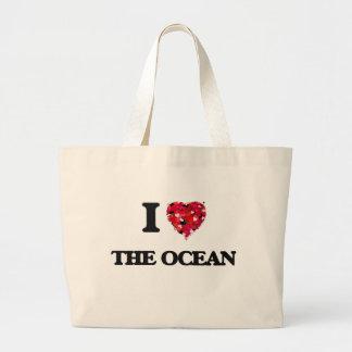 Eu amo o oceano sacola tote jumbo