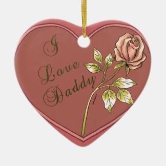 Eu amo o ornamento cerâmico do coração do pai