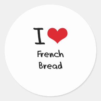 Eu amo o pão francês adesivo redondo