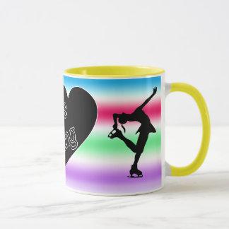 Eu amo o patinagem artística, coração, caneca