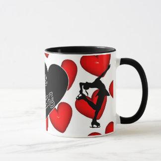 Eu amo o patinagem artística, os corações & a caneca