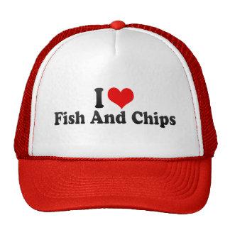 Eu amo o peixe com batatas fritas bone