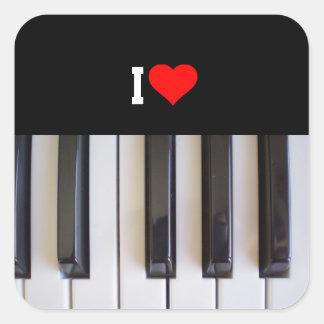 Eu amo o piano adesivo quadrado