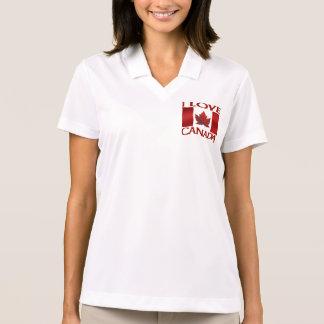 Eu amo o pólo do Canadá das mulheres da camisa do