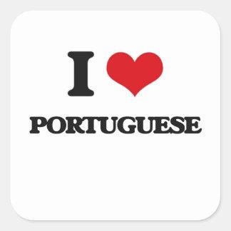 Eu amo o português adesivo quadrado