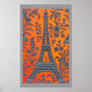 Eu amo o poster cinzento da beira de Paris pequeno