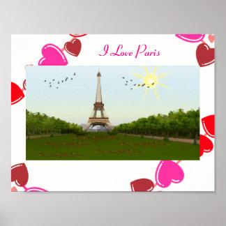 Eu amo o poster de Paris Pôster