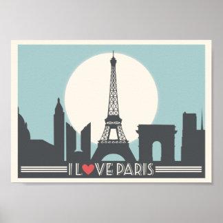 Eu amo o poster vintage de Paris Pôster