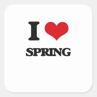 Eu amo o primavera adesivo quadrado