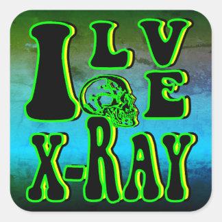 Eu amo o raio X Adesivo Quadrado