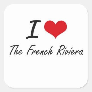 Eu amo o Riviera francês Adesivo Quadrado