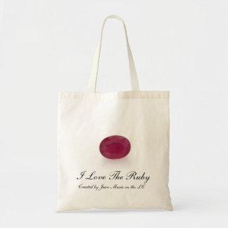 Eu amo o saco de compras de pedra preciosa do rubi bolsas