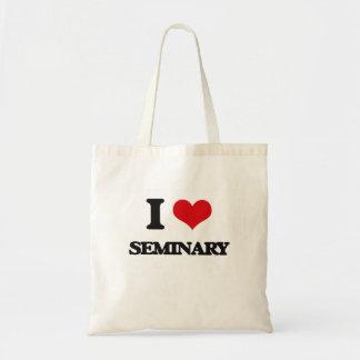 Eu amo o seminário sacola tote budget