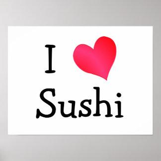 Eu amo o sushi pôster