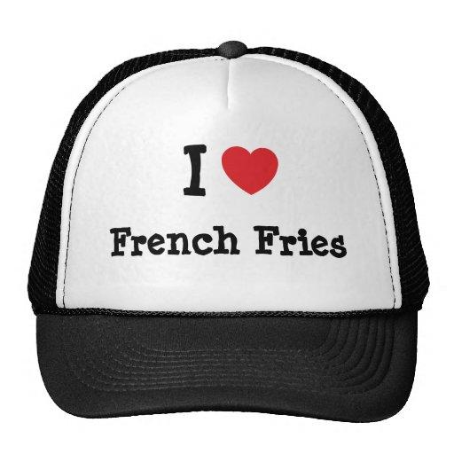 Eu amo o t-shirt do coração das batatas fritas bone