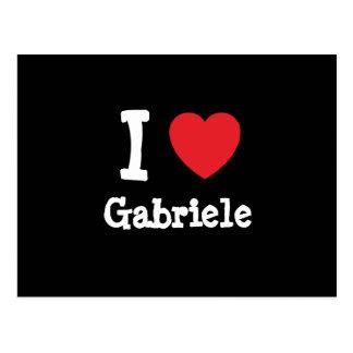 Eu amo o t-shirt do coração de Gabriele Cartoes Postais