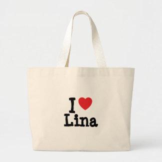 Eu amo o t-shirt do coração de Lina Sacola Tote Jumbo
