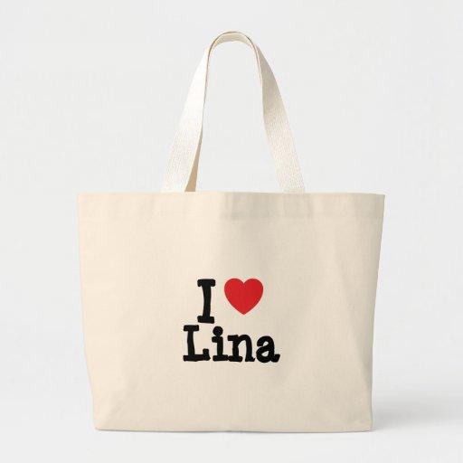 Eu amo o t-shirt do coração de Lina Bolsa Para Compras