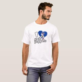 Eu amo o t-shirt dos homens dos fantoches da peúga camiseta