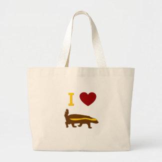 Eu amo o texugo de mel bolsa tote grande