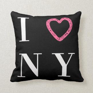 Eu amo o travesseiro reversível de NY - preto,
