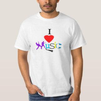 Eu amo o Tshirt dos homens da música Camiseta