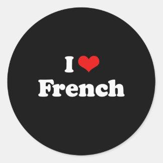 Eu amo o Tshirt francês Adesivos Em Formato Redondos