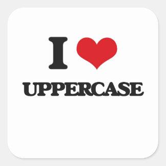 Eu amo o Uppercase Adesivo Quadrado