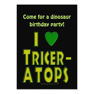 Eu amo (o verde do dinossauro do Triceratops do Convite Personalizados