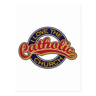 Eu amo o vermelho da igreja Católica no azul Cartao Postal