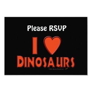 Eu amo (o vermelho do amante do dinossauro dos convite personalizados