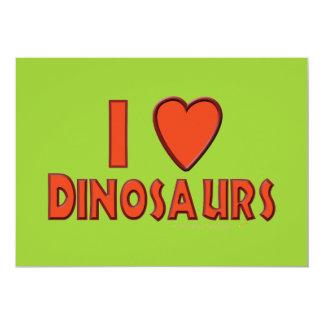 Eu amo (o vermelho do amante do dinossauro dos convite 12.7 x 17.78cm