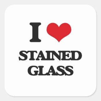 Eu amo o vitral adesivo em forma quadrada