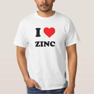 Eu amo o zinco camisetas