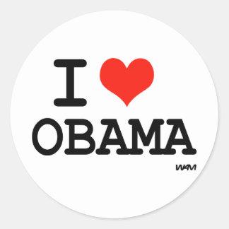Eu amo Obama Adesivos Redondos
