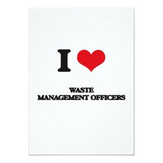 Eu amo oficiais da gestão de resíduos convite 12.7 x 17.78cm