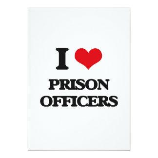 Eu amo oficiais de prisão convite 12.7 x 17.78cm
