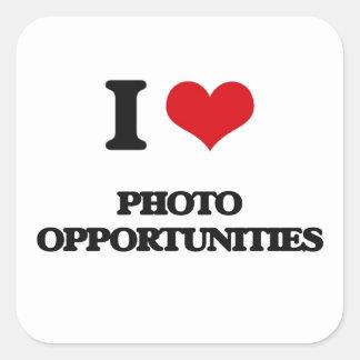 Eu amo oportunidades da foto adesivo quadrado