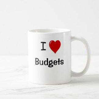 Eu amo orçamentos mim orçamentos do coração caneca de café