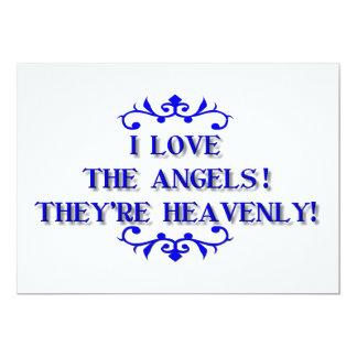 Eu amo os anjos! São celestiais! Convite 12.7 X 17.78cm