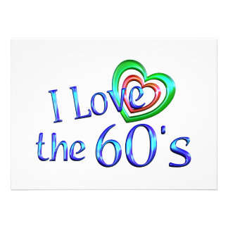 Eu amo os anos 60 convite personalizado