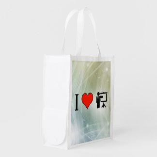 Eu amo os conferentes que ensinam com tela sacolas reusáveis