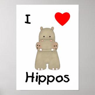Eu amo os hipopótamos 3 impressão