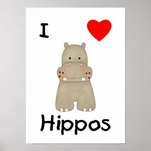Eu amo os hipopótamos (3) impressão